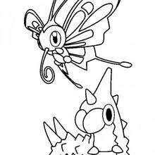 Chenipote et le papillon - Coloriage - Coloriage POKEMON