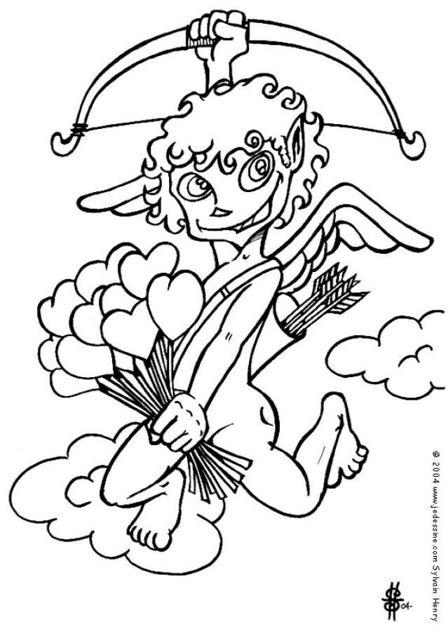 Coloriage d'un chérubin de Saint-Valentin