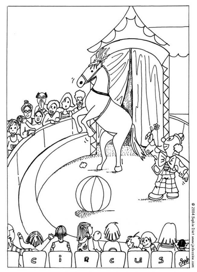 Coloriages coloriage de chevaux de cirque - Coloriages cirque ...
