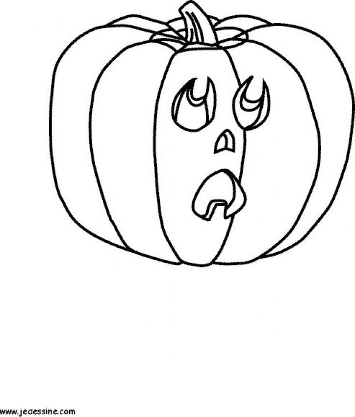 Coloriage d'Halloween : Citrouille inquiète