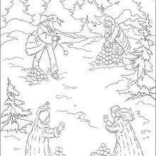 Coloriage : Bataille de boules de neige