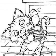 Coloriage : Chat qui joue