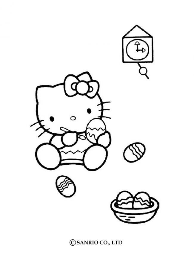 Coloriages coloriage de hello kitty et les oeufs de p ques - Coloriage hello kitty et mimi ...