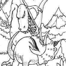 Coloriage : Combat de dinosaures