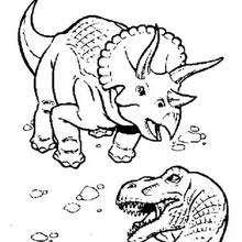 Coloriage : Combat de triceratops