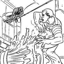 Coloriage : Combat entre Spiderman et l'homme sable