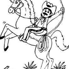 Coloriage : Cow-boy sur son cheval