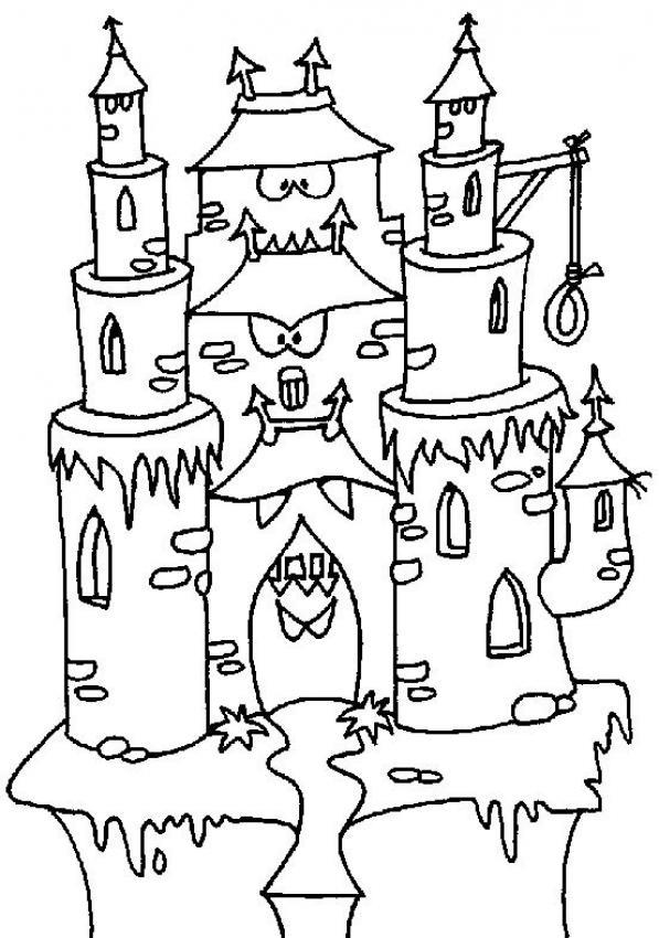 Coloriage Chateau En Ligne.Coloriages Coloriage En Ligne Maison Hantee Fr Hellokids Com
