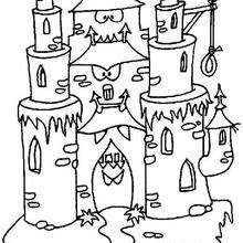Coloriage d'un chateau hanté - Coloriage - Coloriage FETES - Coloriage HALLOWEEN - Coloriage CHATEAU HALLOWEEN