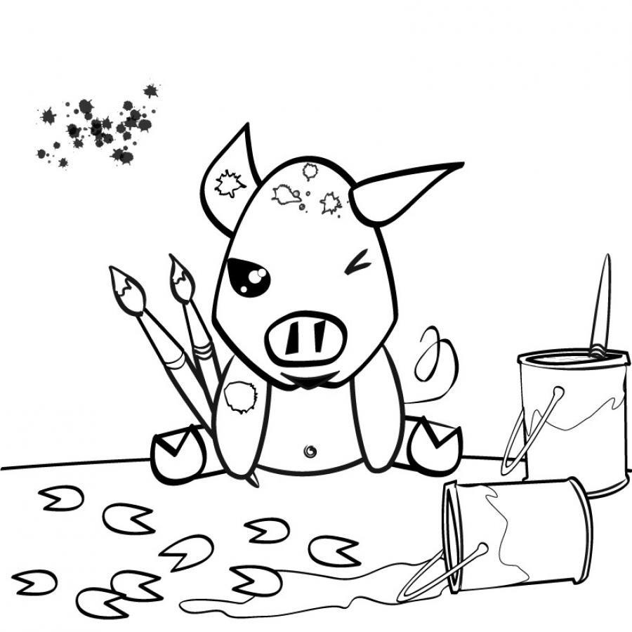 Coloriages coloriage d 39 un cochon - Dessin d un cochon ...