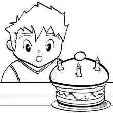 Coloriage d'un gâteau d'anniversaire
