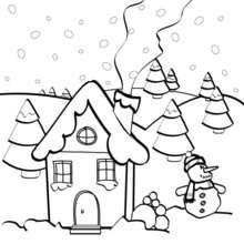 Coloriage d'une maison sous la neige - Coloriage - Coloriage FETES - Coloriage NOEL - Coloriage NOEL GRATUIT