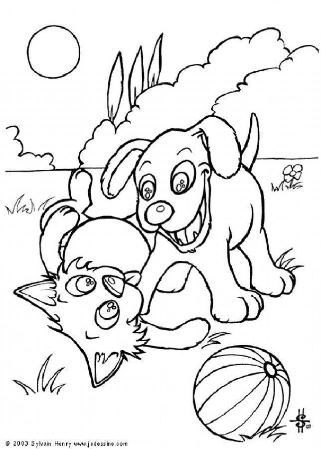 Coloriages chat et chien jouent ensemble - Coloriage chien chat ...