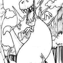 Coloriage : Dinosaure attaqué