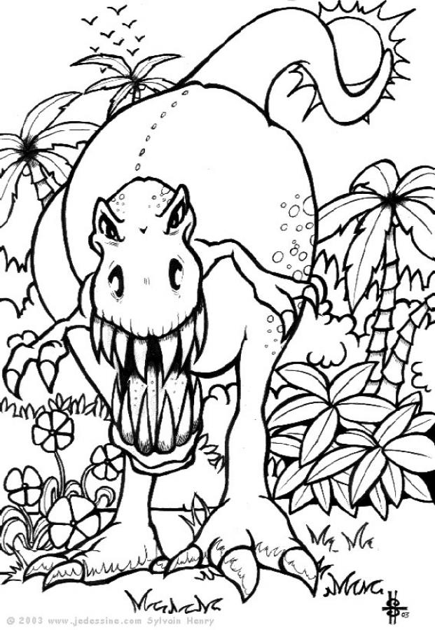 Coloriages t rex effrayant - Tyrannosaure coloriage ...