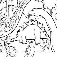 Coloriage : Dinosaures dans un musée