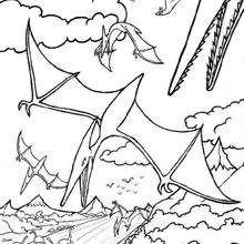 Coloriage : Dinosaures volants
