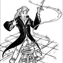 Hermione s'exerce au sortilège de Wingardium Leviosa
