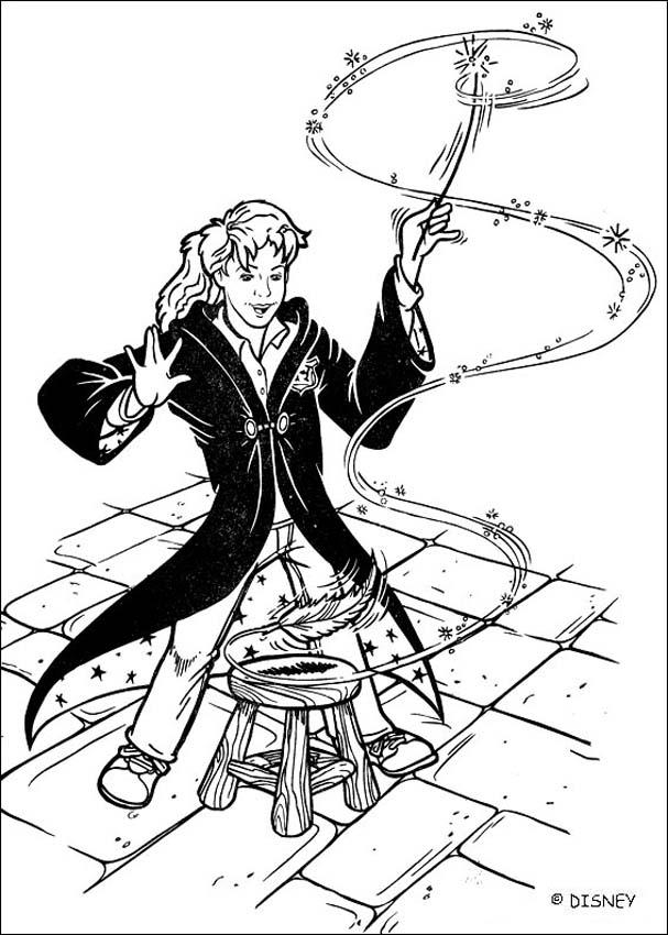 Coloriages hermione s 39 exerce au sortil ge de wingardium leviosa - Coloriage harry potter ...