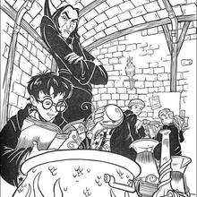 Coloriage Harry Potter : Le professeur Severus Rogue surveille sa classe