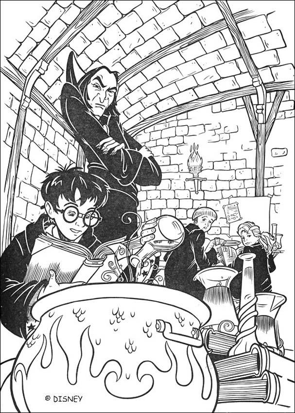 coloriage harry potter le professeur severus rogue surveille sa classe