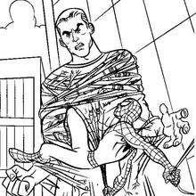 Coloriage : L'homme de sable piégé par la toile de spiderman