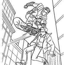 Coloriage : Le Gobelin enlève Peter Parker