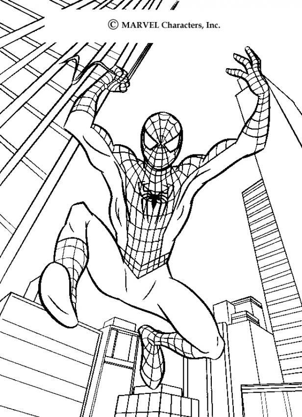 coloriage le grand saut de spiderman