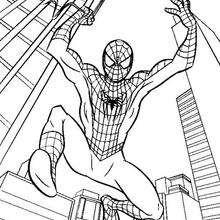 Coloriage : Le grand saut de Spiderman