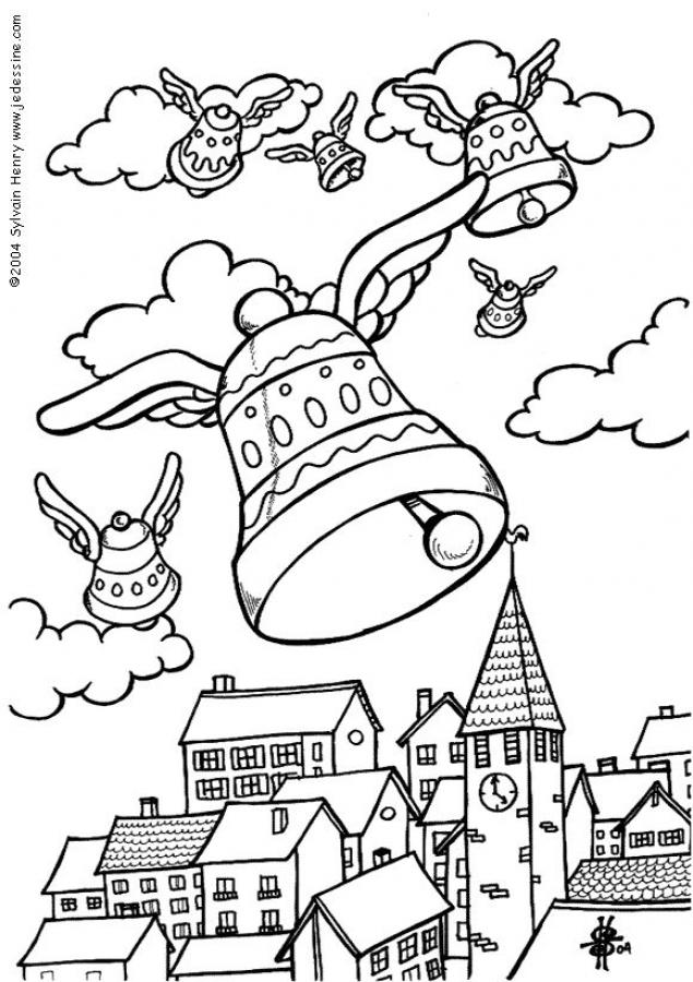 Coloriages les cloches de p ques - Dessin de cloche ...