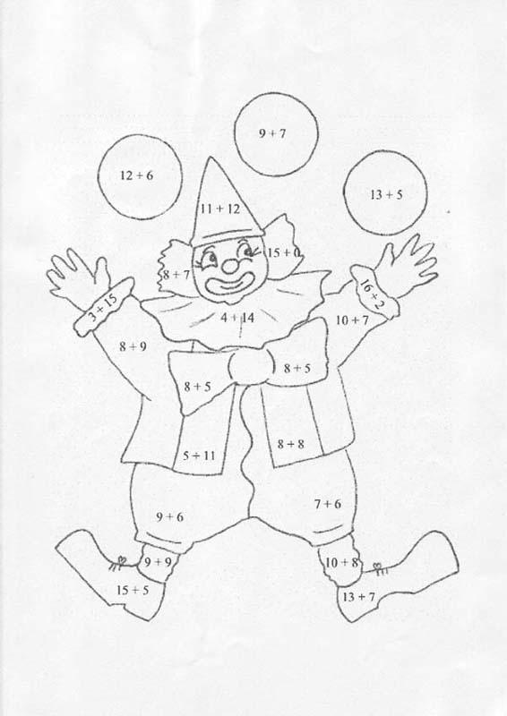 Coloriages addition clown - Coloriage clown a imprimer ...