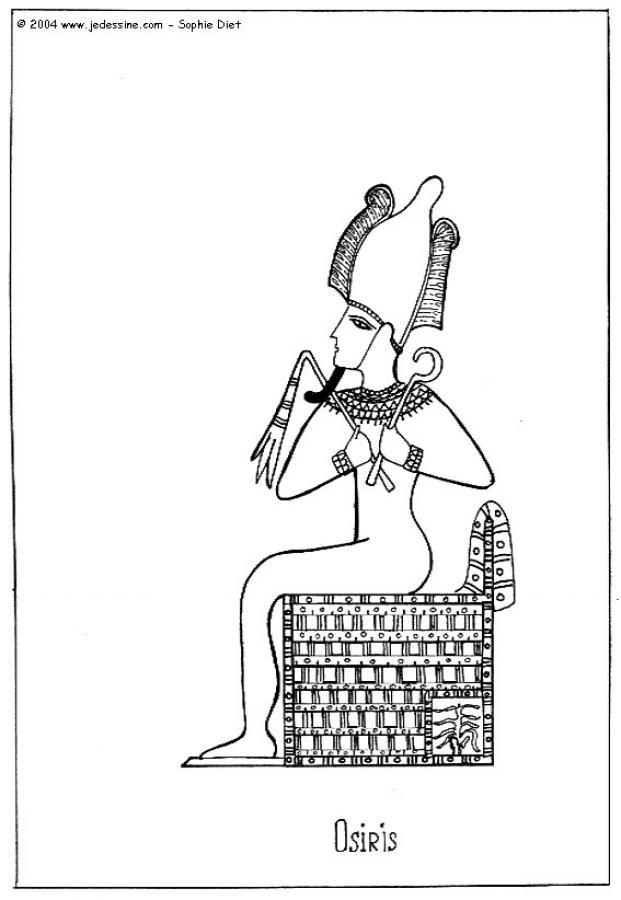 Coloriage : Osiris sur le trône