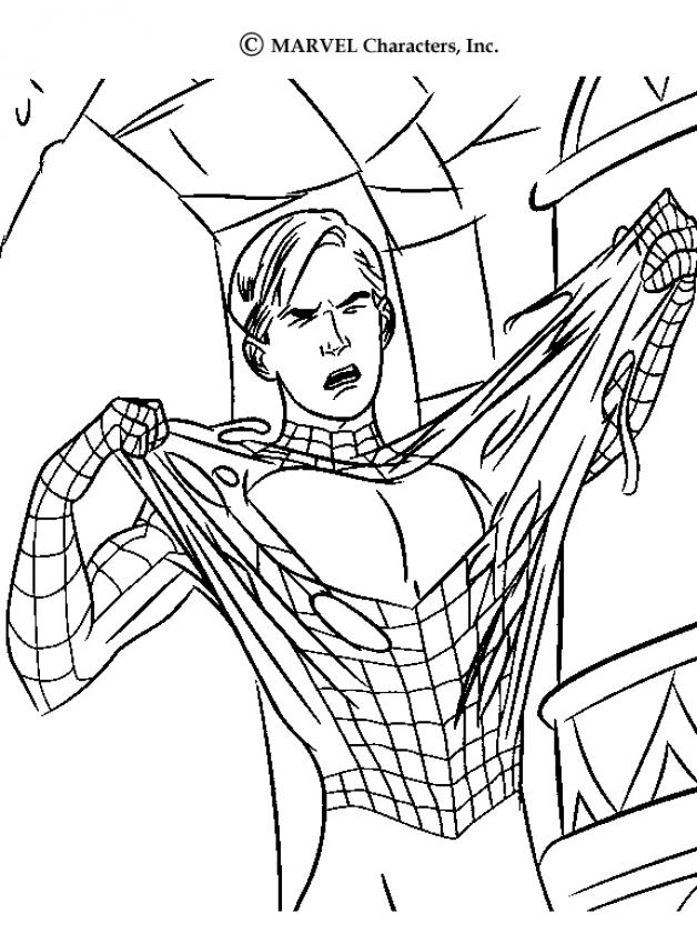 en fuite coloriage spiderman arrache son costume