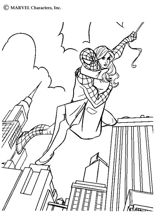 coloriage spiderman et mary jane