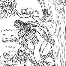 Coloriage : Spiderman sauve un chat