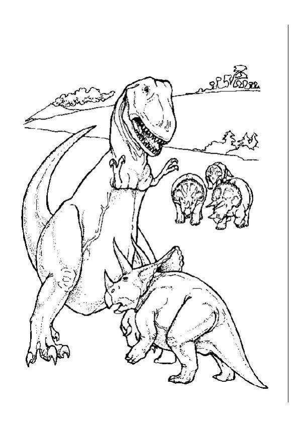 Coloriages tric ratops contre t rex - Dessin dinosaure t rex ...