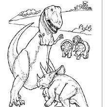 Coloriage : Tricératops contre T-Rex