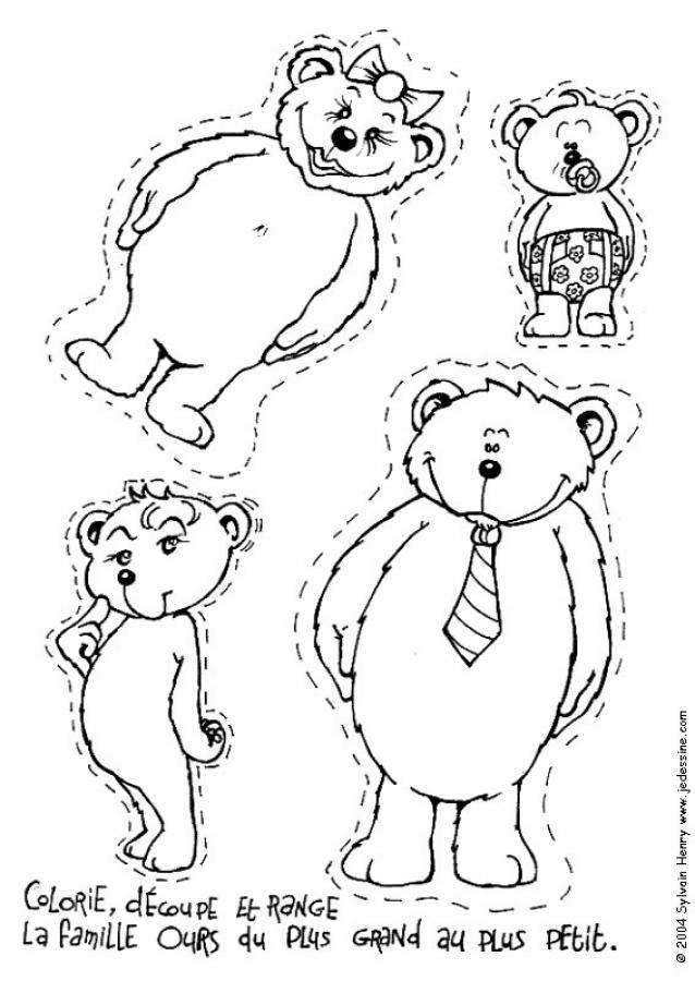 Coloriages colorie la famille ours - Coloriage de la famille ...