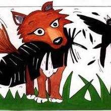 Dessin d'enfant : Corbeau et renard