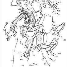 Woody et Pile Poil de Toy Story - Jeux - Jeux de Points à relier - Points à relier personnages célèbres