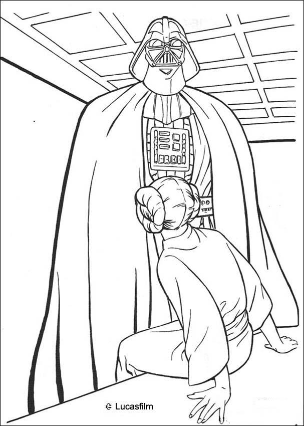 Coloriage STAR WARS de Dark Vador et la princesse Leia