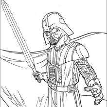 Coloriage STAR WARS de Dark Vador et son épée