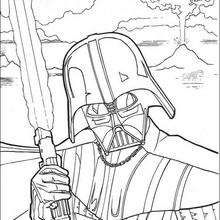 Coloriage Star Wars : Dark Vador et son sabre