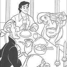 Coloriage du dîner avec le prince - Coloriage - Coloriage DISNEY - Coloriage LA PETITE SIRENE