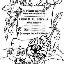 Coloriage d'un dragon et d'un chevalier - Coloriage - Coloriage FETES - Coloriage ANNIVERSAIRE - Coloriage CARTE ANNIVERSAIRE