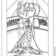 Coloriage d'un éléphant acrobate