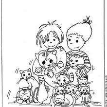 Coloriage d'enfants au milieu des chats - Coloriage - Coloriage ANIMAUX - Coloriage ENFANTS AVEC DES ANIMAUX