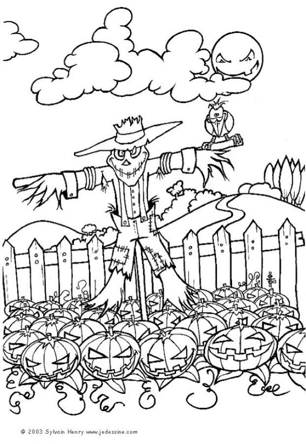 Coloriage d'Halloween : Coloriage d'un epouvantail