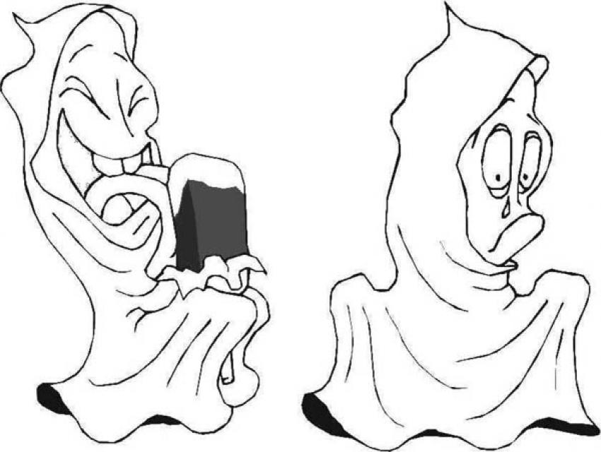 Coloriage d'Halloween : Coloriage du Fantome gourmand