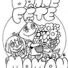 Coloriage Fête des mères: les enfants et le bouquet de fleurs - Coloriage - Coloriage FETES - Coloriage FETE DES MERES - Coloriage CARTE DE VOEUX FETE DES MERES